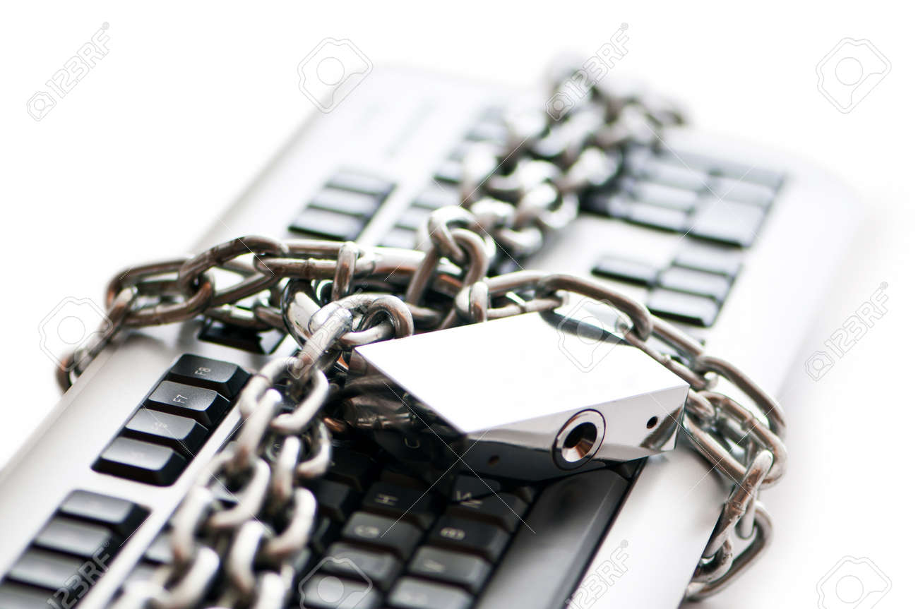 Concept of internet security with padlock and keyboard Stock Photo - 9918139