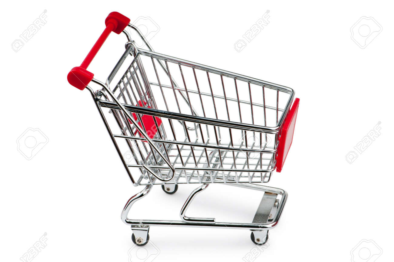 Shopping cart against the white background Stock Photo - 10058204