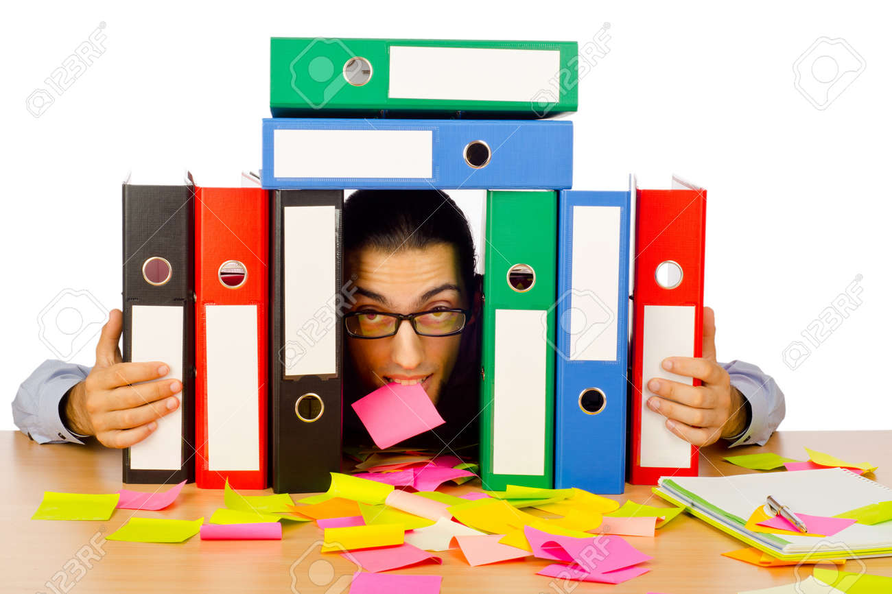 Businessman with many folders on white Stock Photo - 10572793