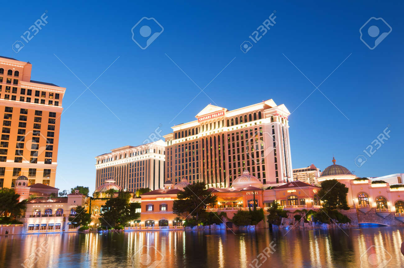 Las Vegas - 11 Sep 2010  - Bellagio Hotel Casino during sunset Stock Photo - 10558479