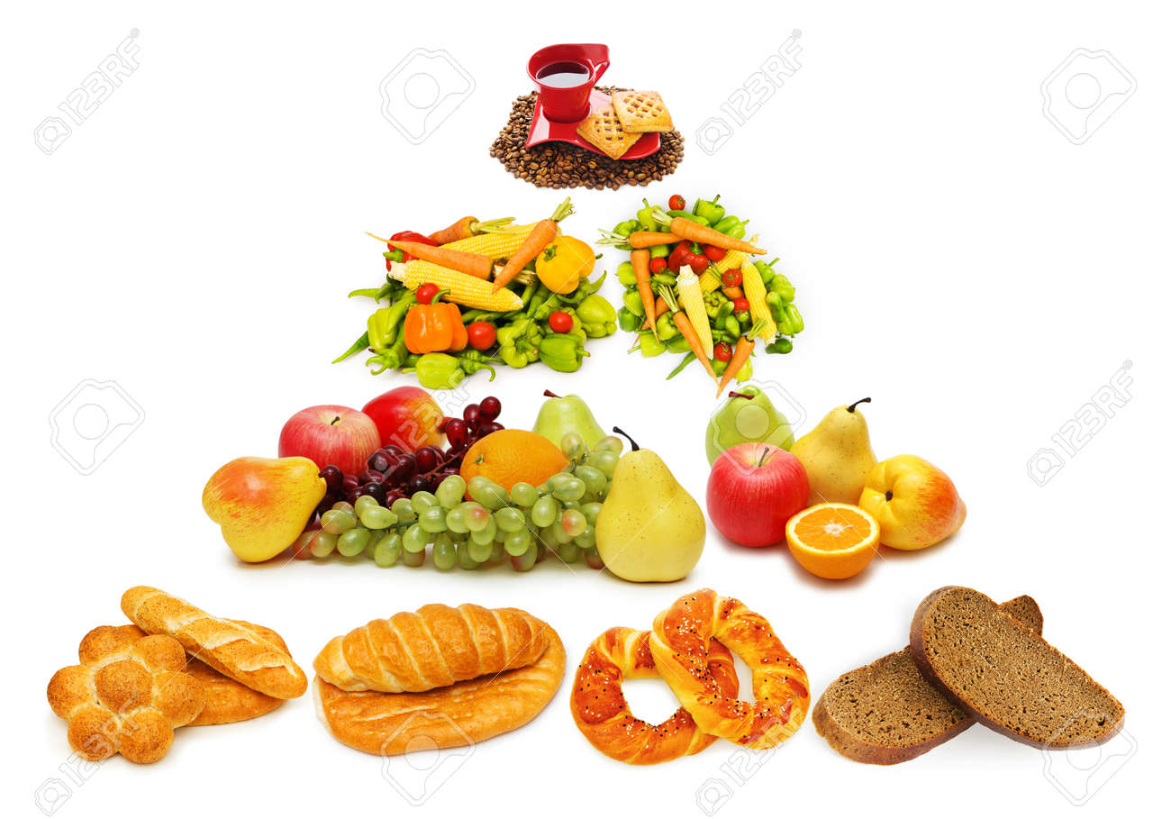 Food pyramid with lots of items Stock Photo - 10561041