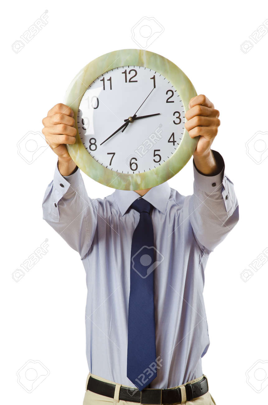 Businessman covering his face with clock Stock Photo - 10856842