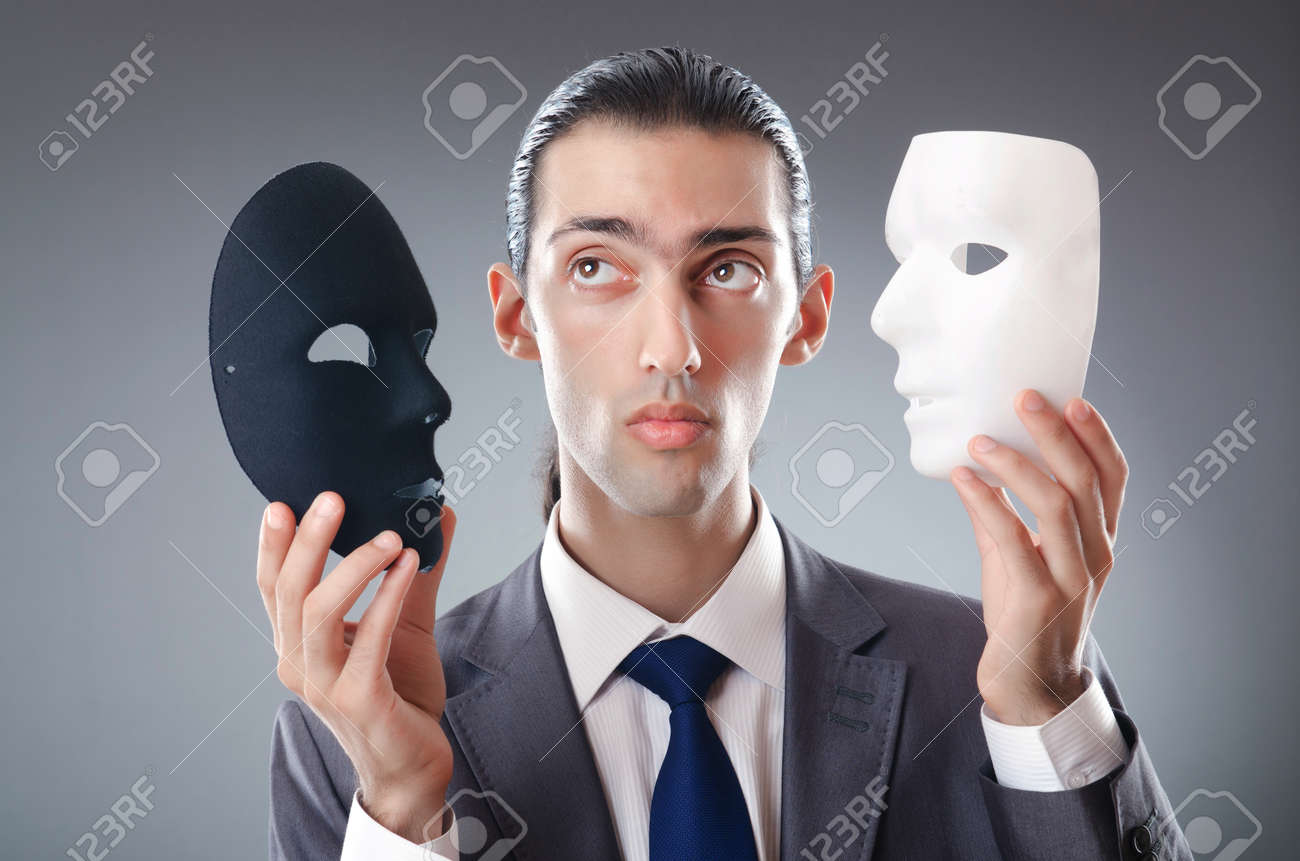 Industrial espionate concept with masked businessman Stock Photo - 10969634