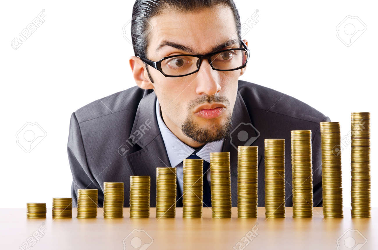 Businessman with golden coins Stock Photo - 10970162