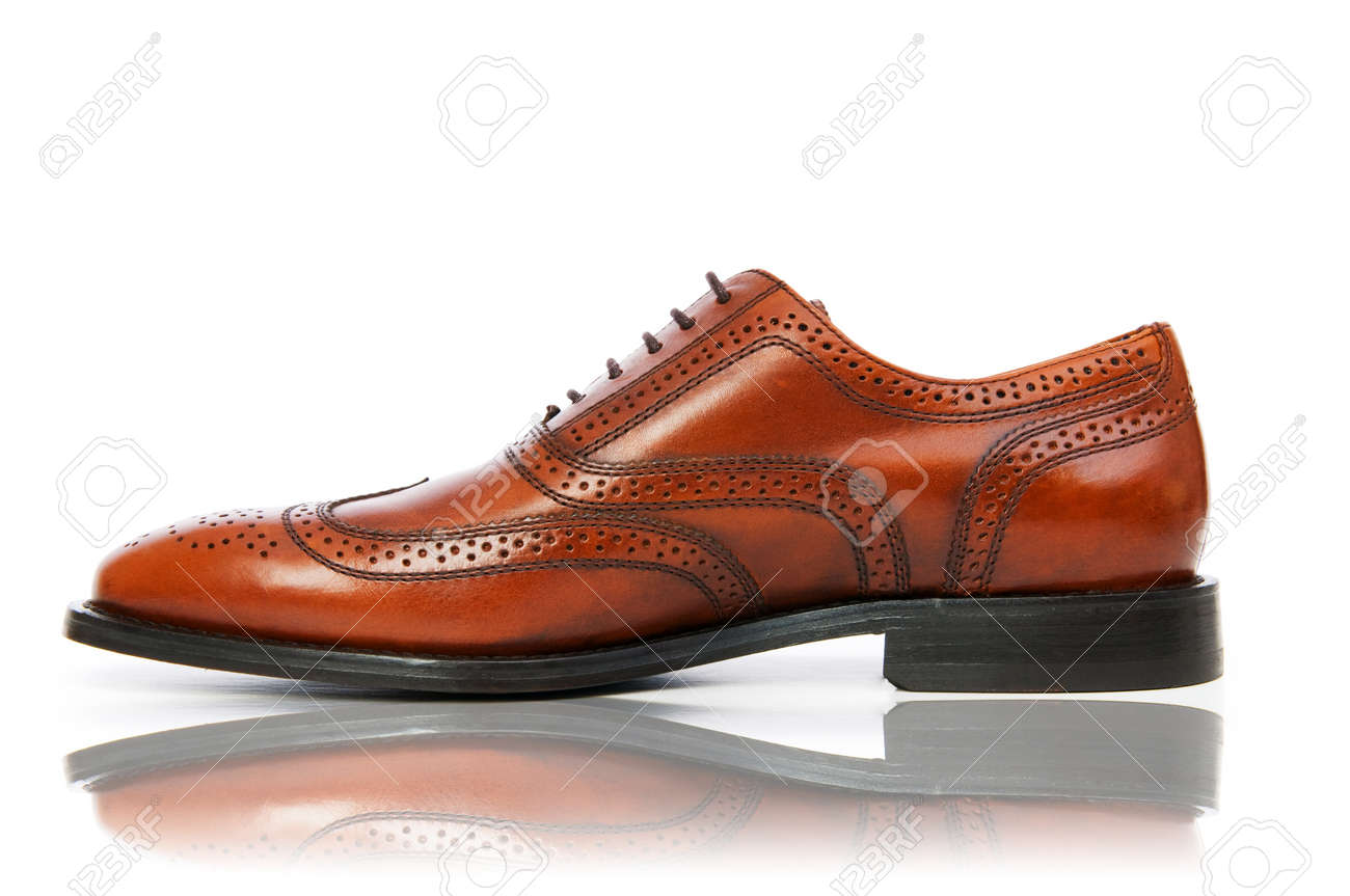 Fashion concept with male shoes on white Stock Photo - 10961683