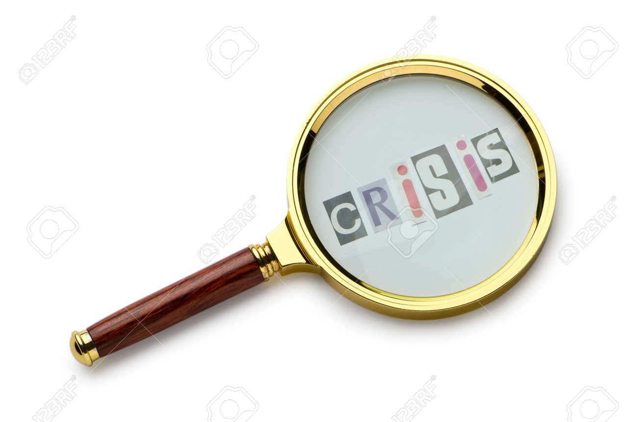 Crisis concept with magnifying glass Stock Photo - 11076644