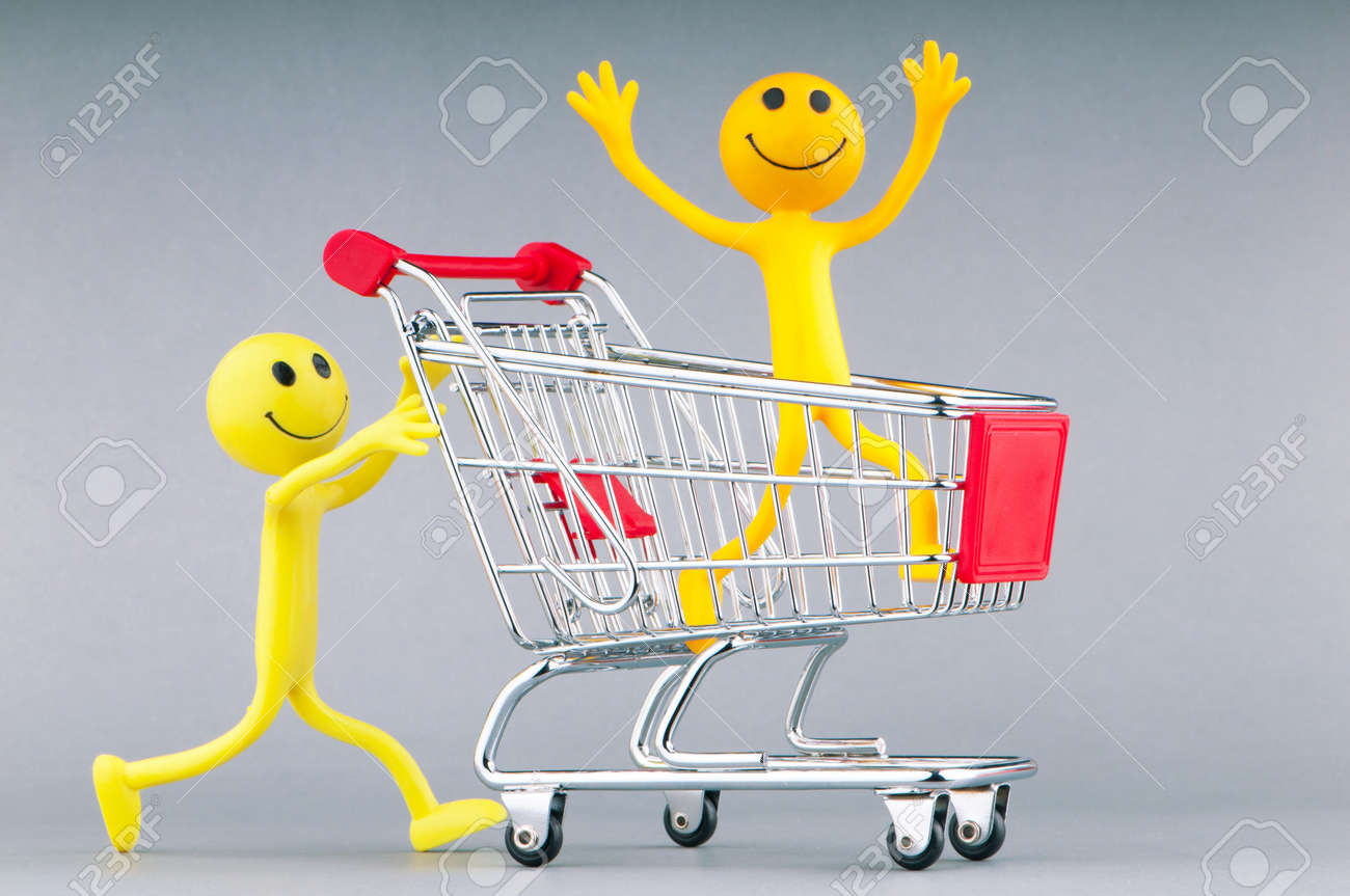 Shopping cart and happy smilies Stock Photo - 11075282