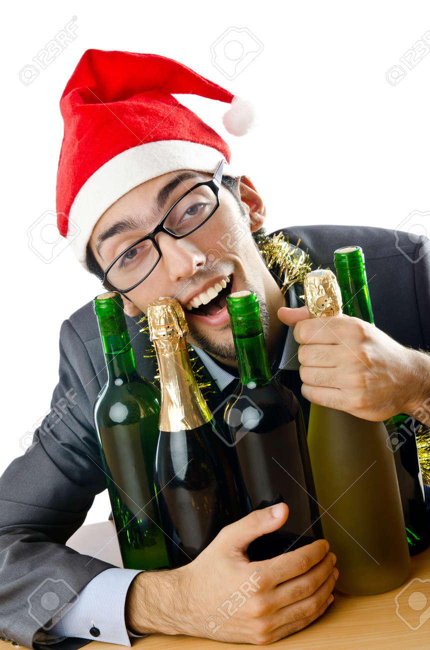 Drunk Office Worker After Christmas Party Stock Photo, Picture And ...