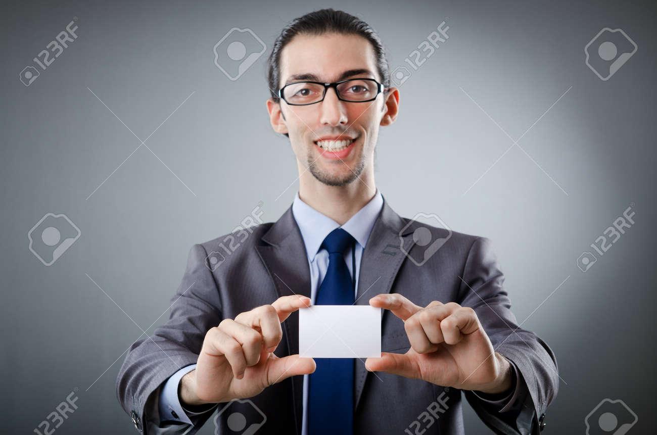 Businessman holding blank message Stock Photo - 11193550