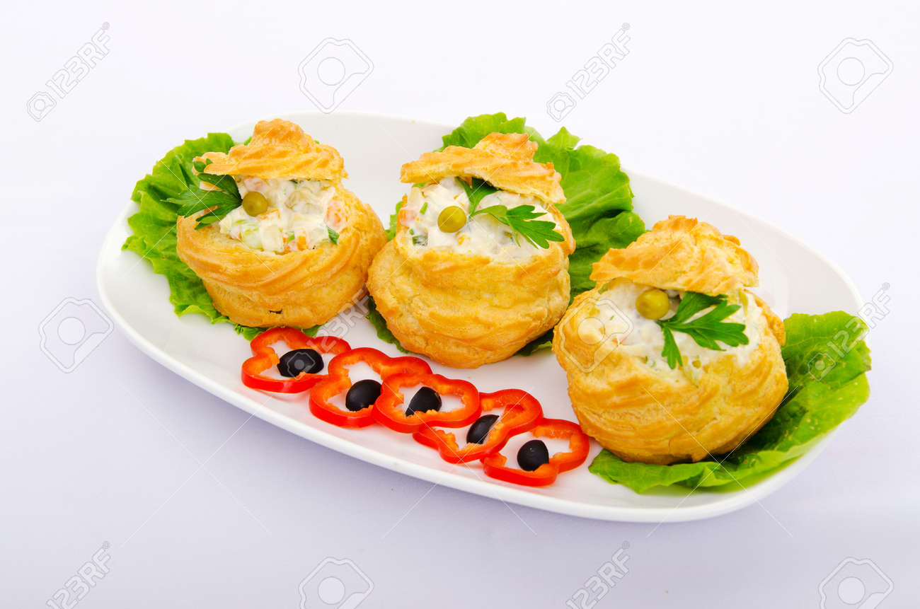 Russian salad served in profiterole Stock Photo - 11181597