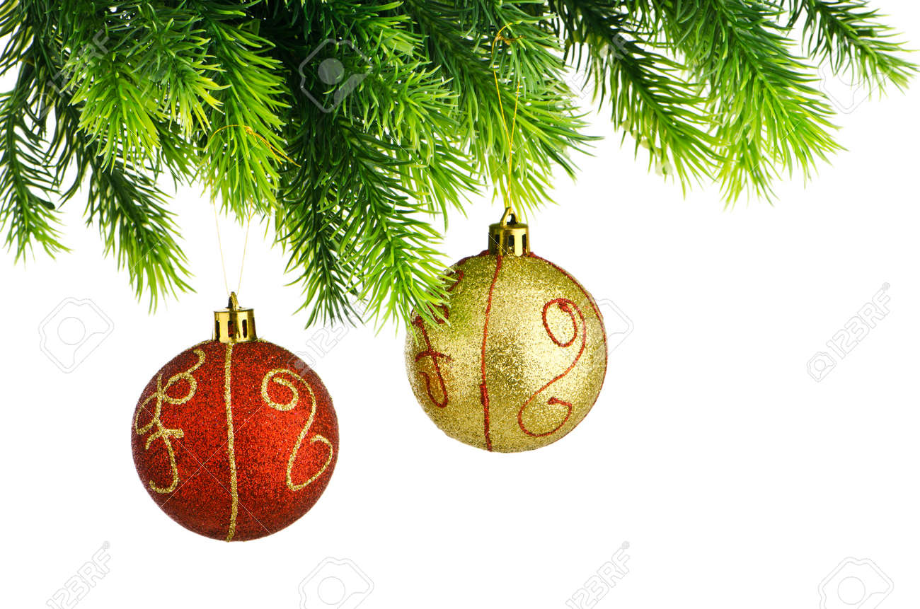 Christmas concept with baubles on white Stock Photo - 11181334