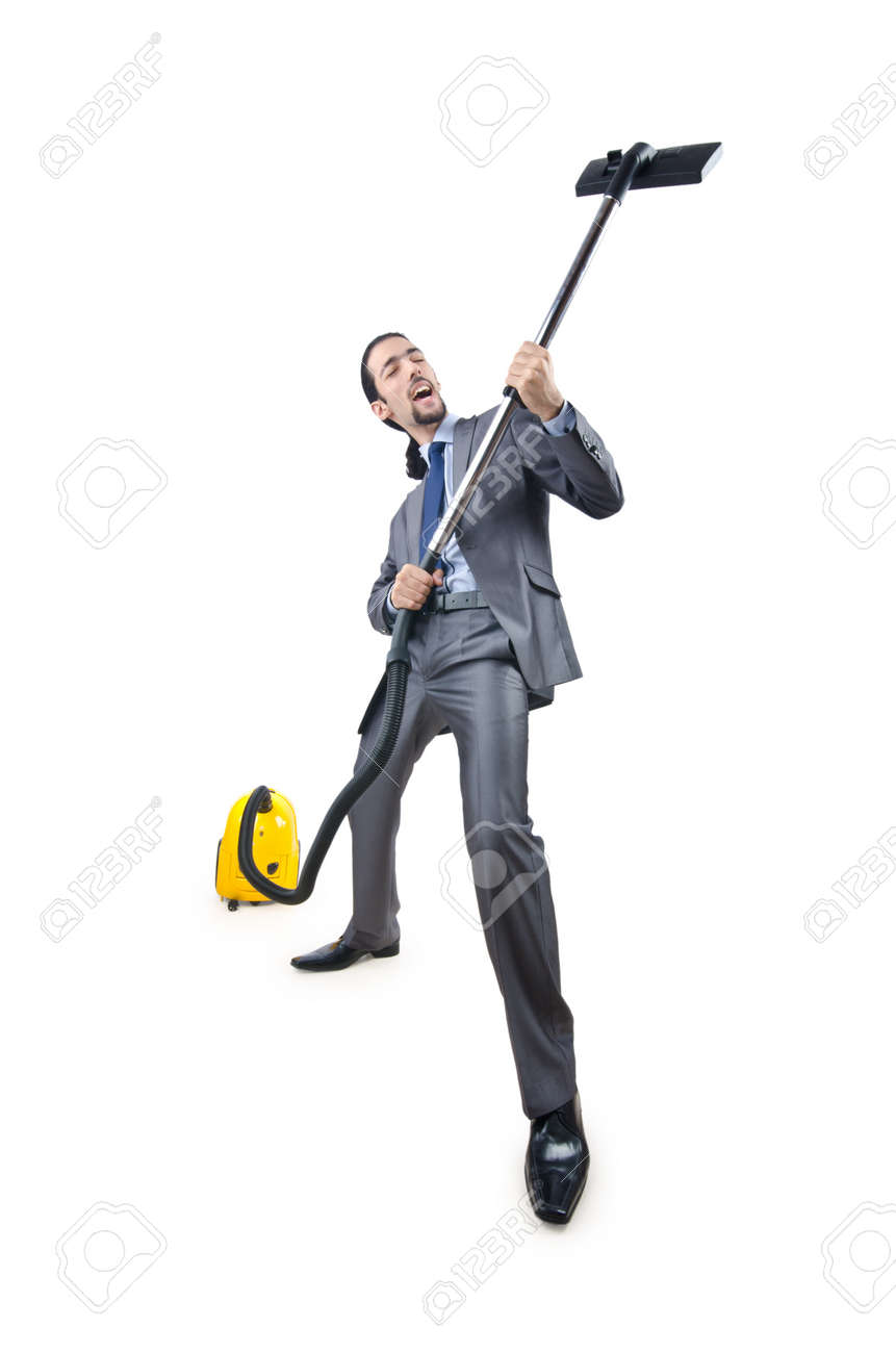 Businessman with vacuum cleaner on white Stock Photo - 11193482