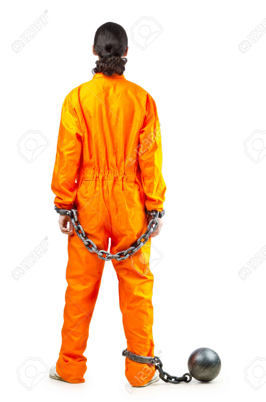 Convict with handcuffs on white Stock Photo - 11404267