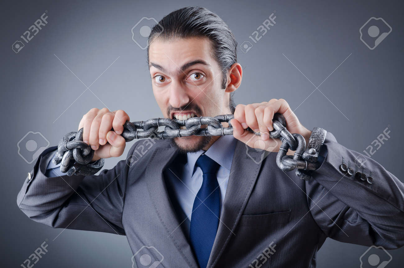 Arrested businessman in studio shooting Stock Photo - 11418473