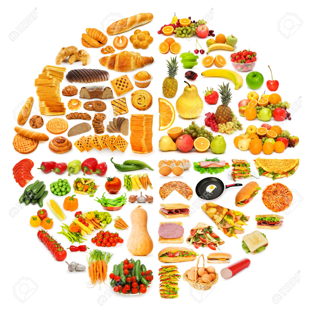 Circle With Lots Of Food Items Stock Photo, Picture And Royalty ...