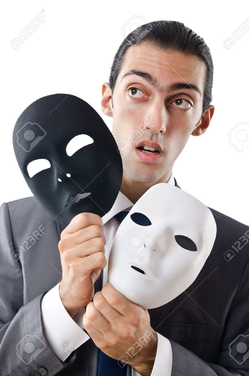 Industrial espionage concept with masked businessman Stock Photo - 11419641
