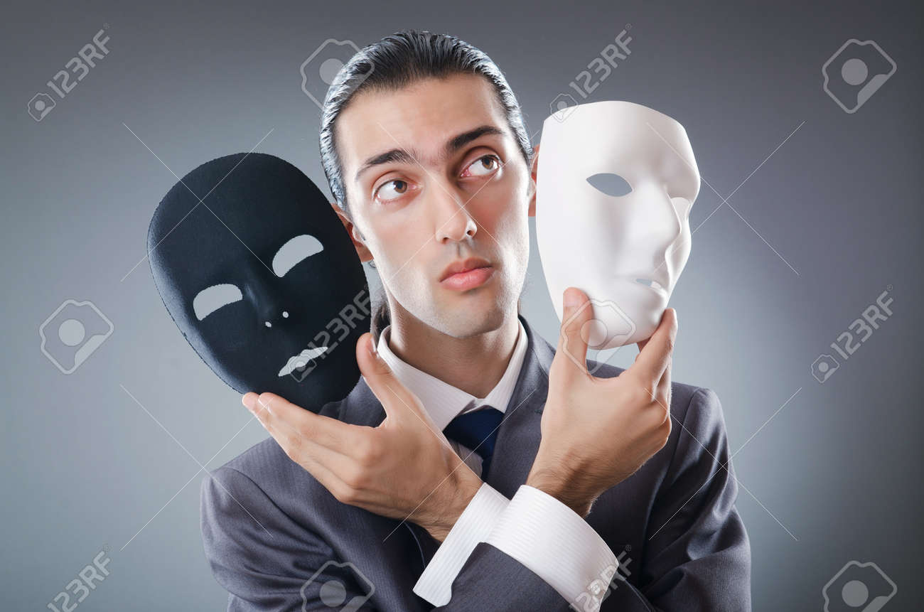 Industrial espionate concept with masked businessman - 11419616