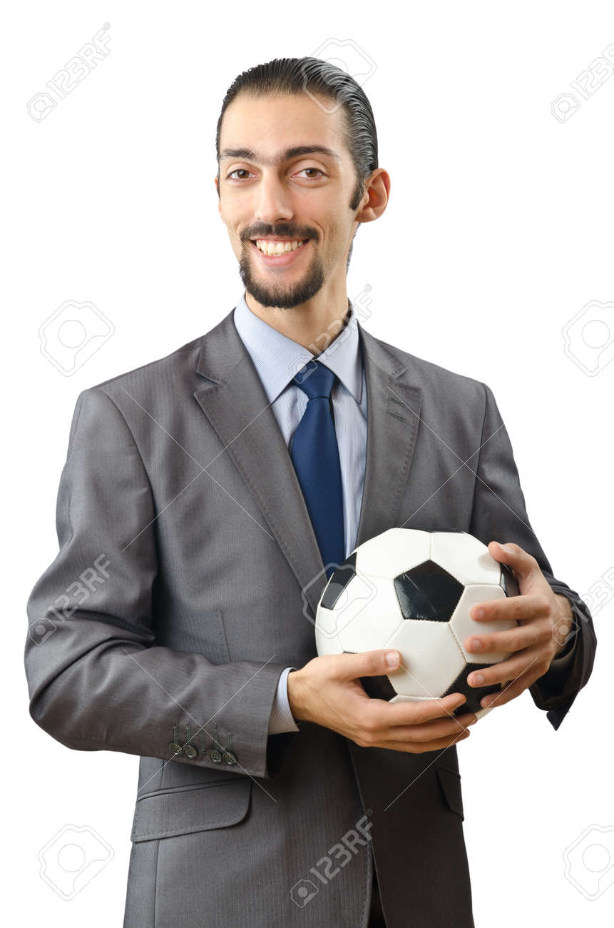 Businessman holding football on white Stock Photo - 11622486
