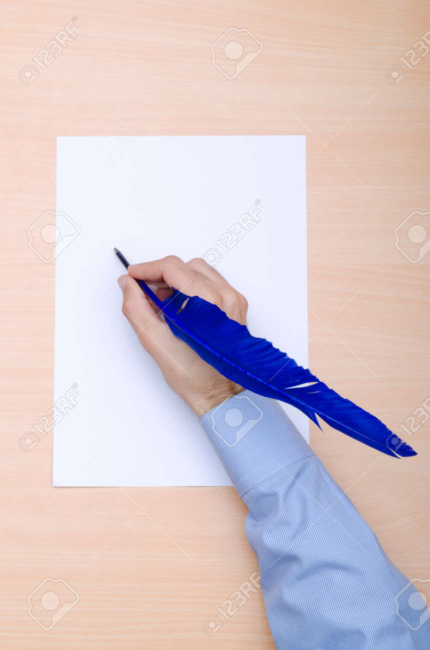 Man with quill writing Stock Photo - 12109336