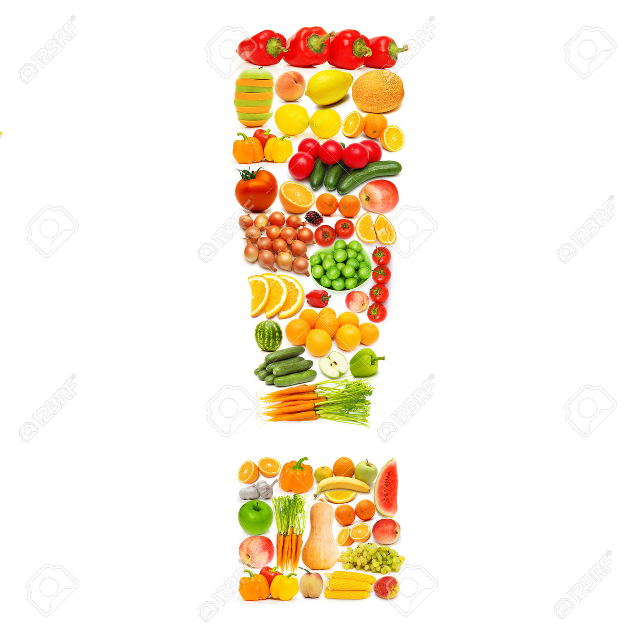 Alphabet made of many fruits and vegetables Stock Photo - 12226071