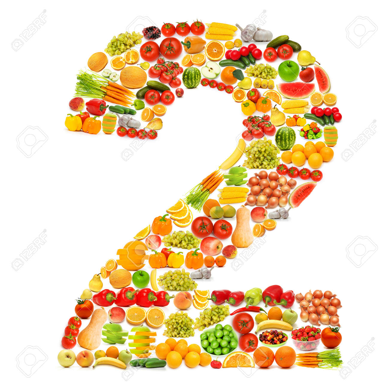 Alphabet made of many fruits and vegetables Stock Photo - 12227310