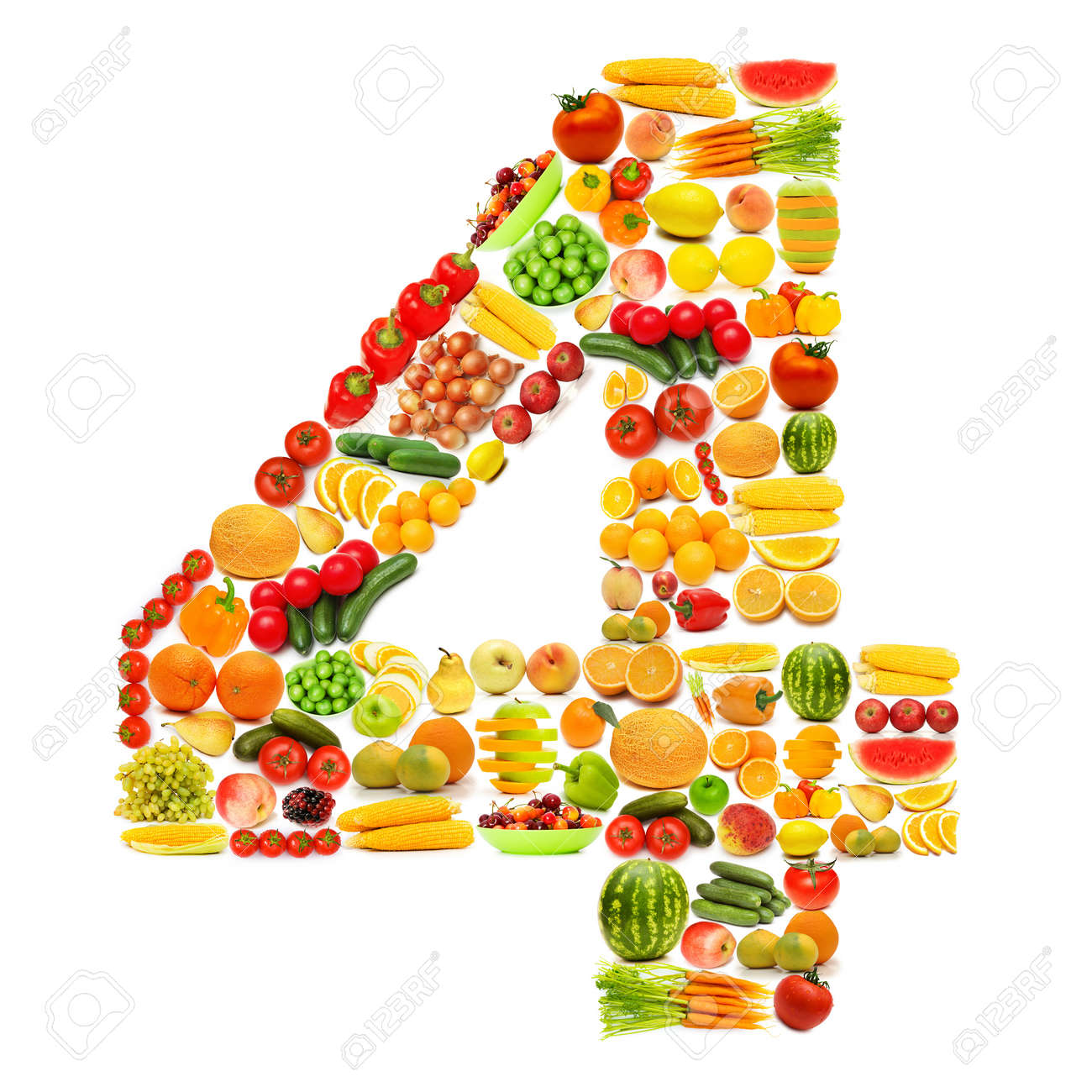 Alphabet made of many fruits and vegetables Stock Photo - 12226152