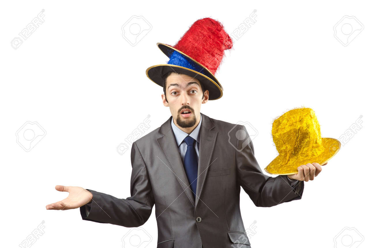 Clown businessman isolated on the white Stock Photo - 12283684