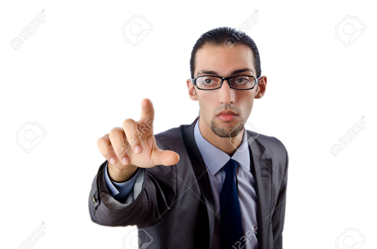 Businessman pressing virtual buttons Stock Photo - 12283760
