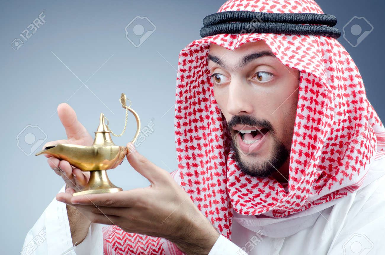 Arab and ancient golden lamp Stock Photo - 12283962