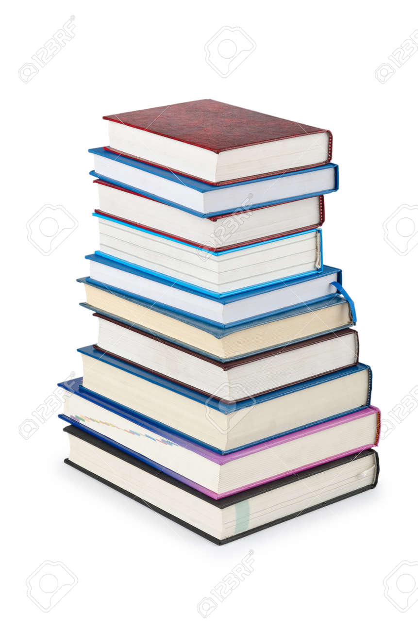 Books in high stack isolated on white Stock Photo - 12346954