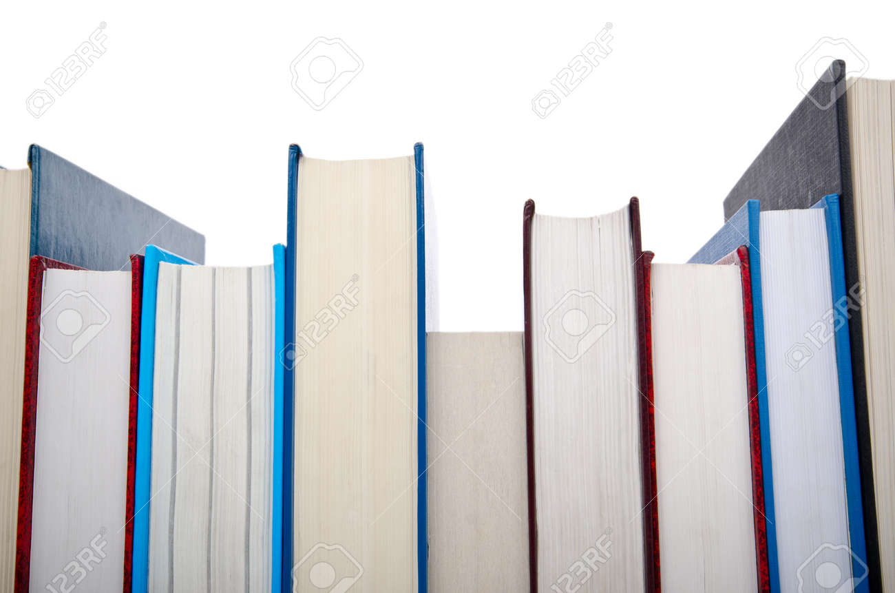 Books in high stack isolated on white Stock Photo - 12347258