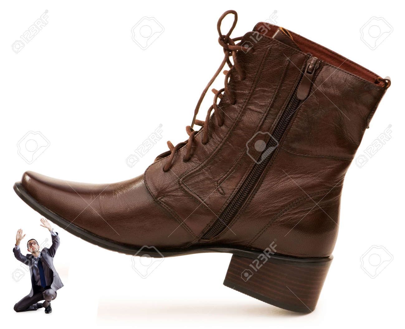 Woman domination concept with shoes and man Stock Photo - 12472464