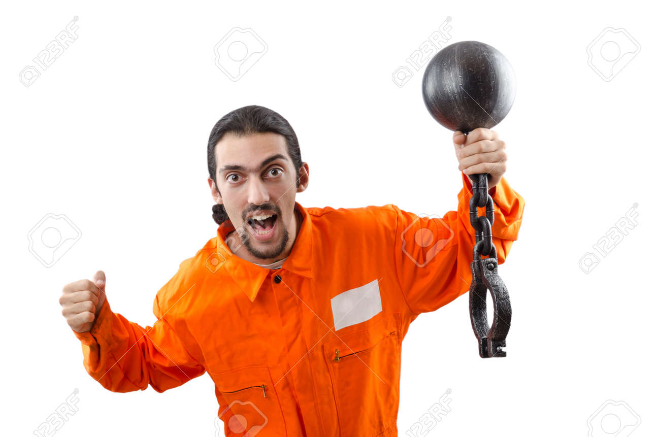 Criminal in orange robe in prison Stock Photo - 12556548