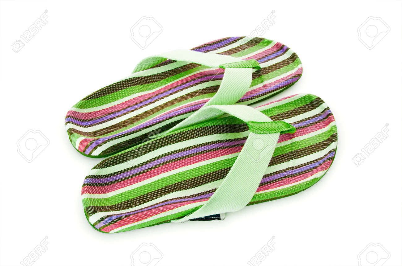 Summer colourful shoes on white Stock Photo - 12581094