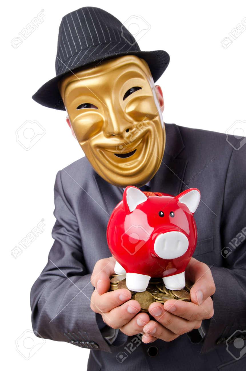 Man with piggybank on white Stock Photo - 12581204