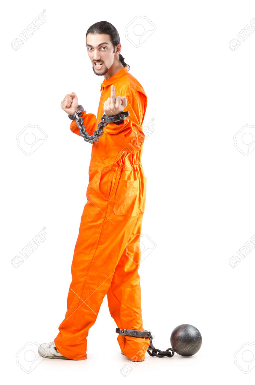 Criminal in orange robe in prison Stock Photo - 12580542