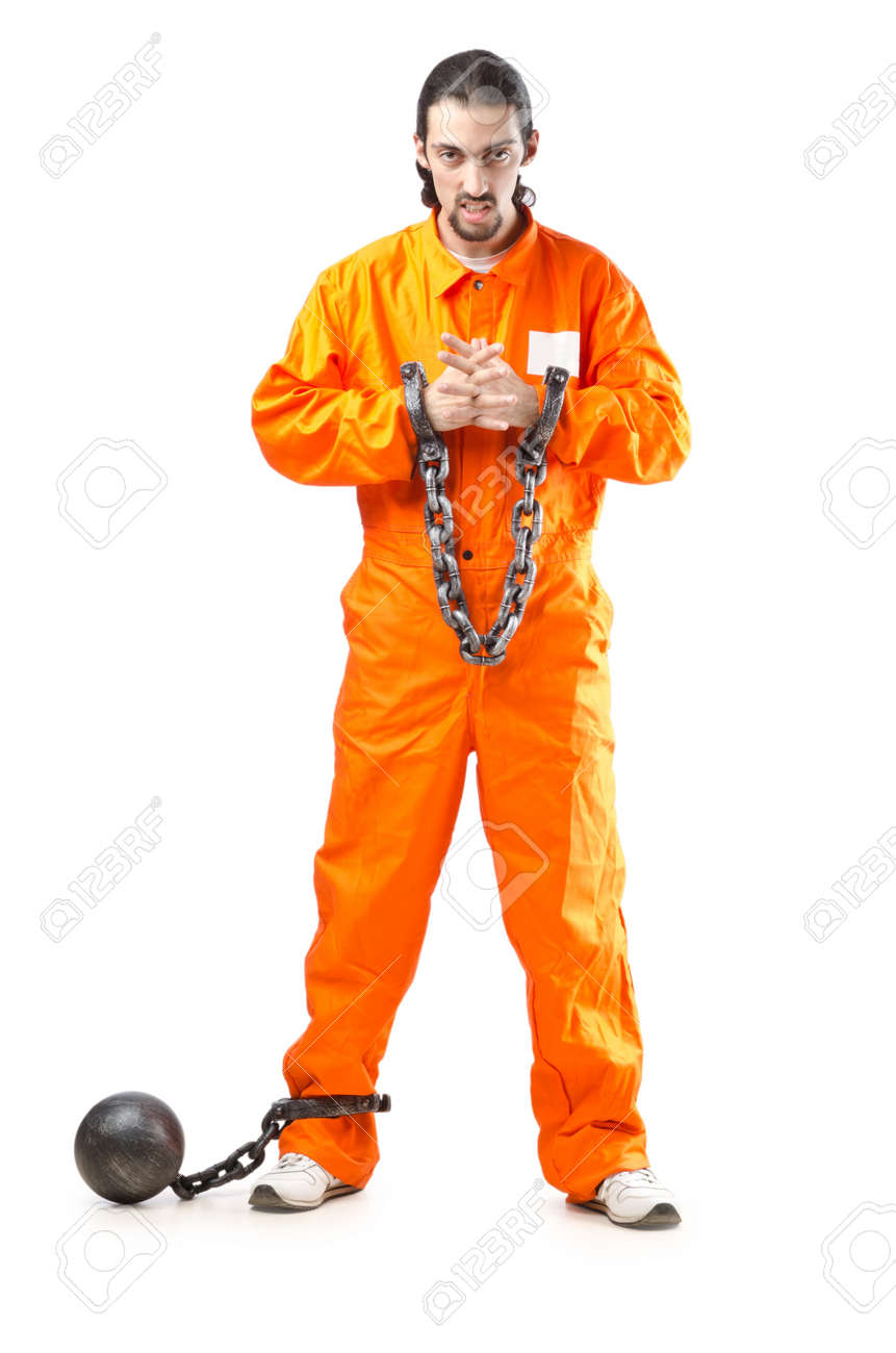 Criminal in orange robe in prison Stock Photo - 12580551