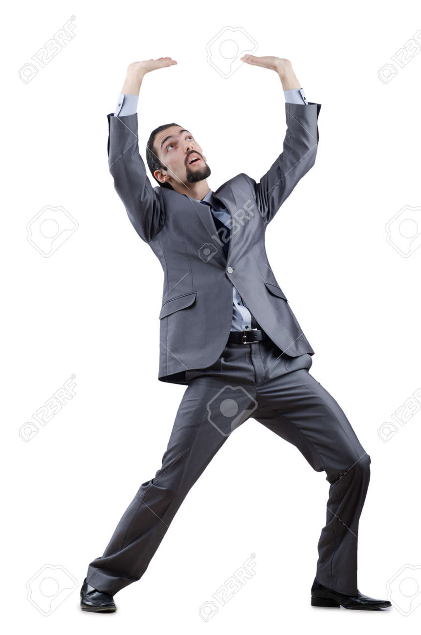 Businessman pushing away virtual obstacles Stock Photo - 12586608