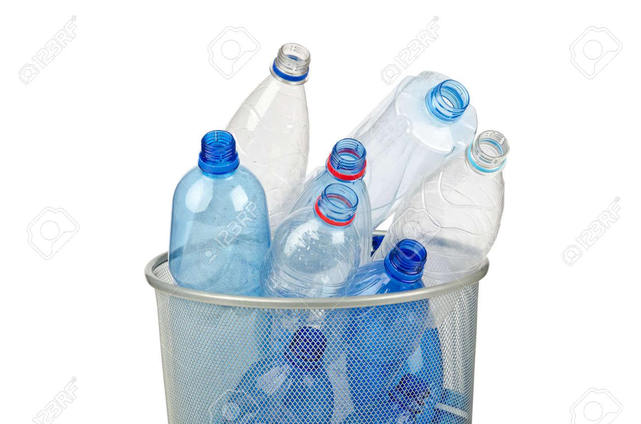 Empty plastic water bottles on white Stock Photo - 12714798