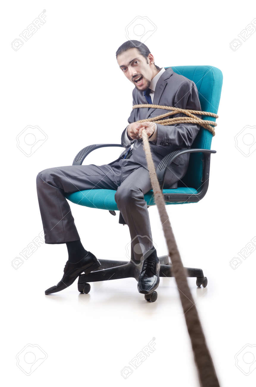 Businessman tied with rope Stock Photo - 13253678