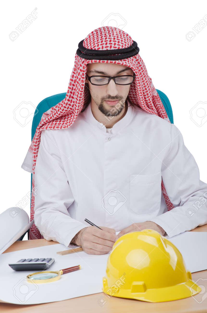 Young arab architect isolated on white Stock Photo - 13308995