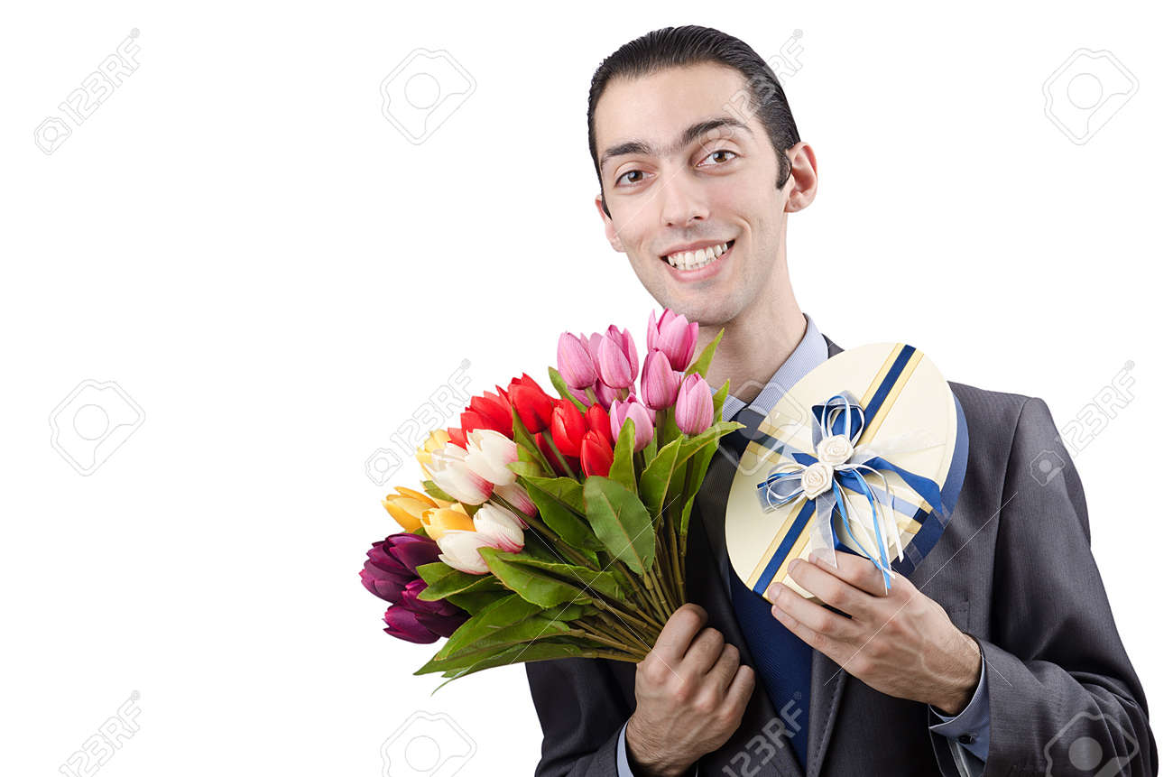 Businessman with giftbox and flowers Stock Photo - 13643890