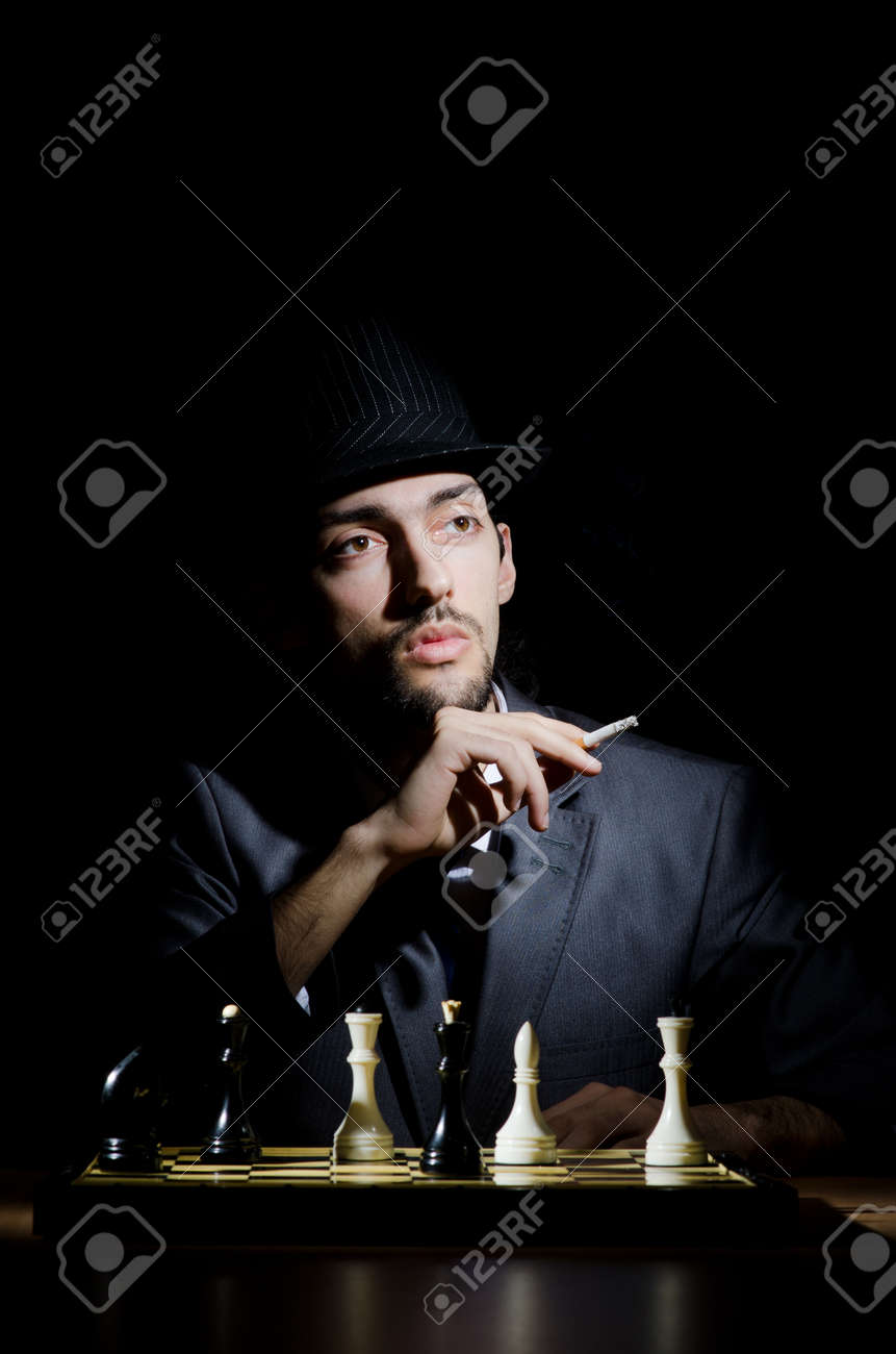 Chess player playing his game Stock Photo - 13596956