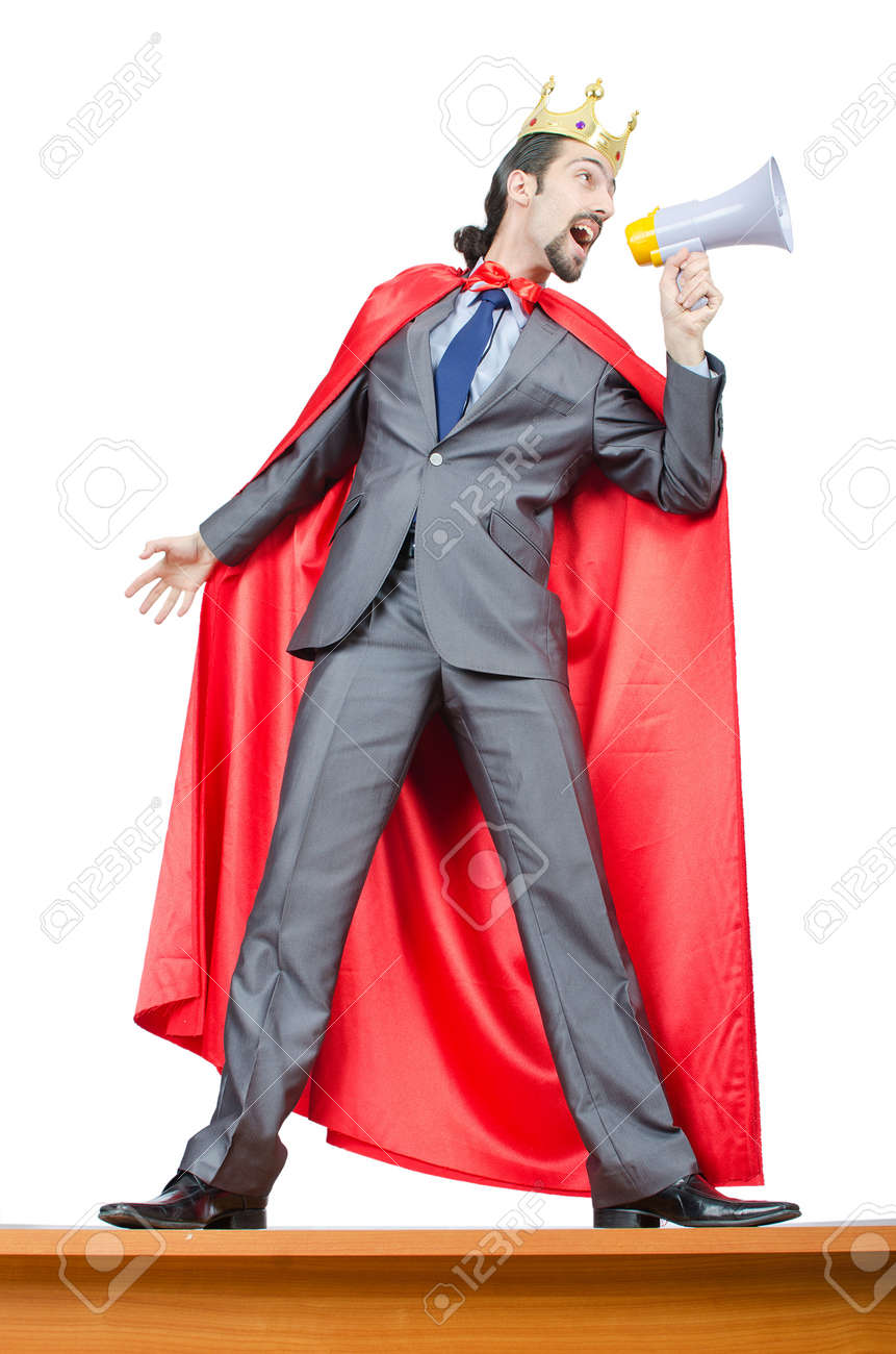 Man in red cover on white Stock Photo - 13888611
