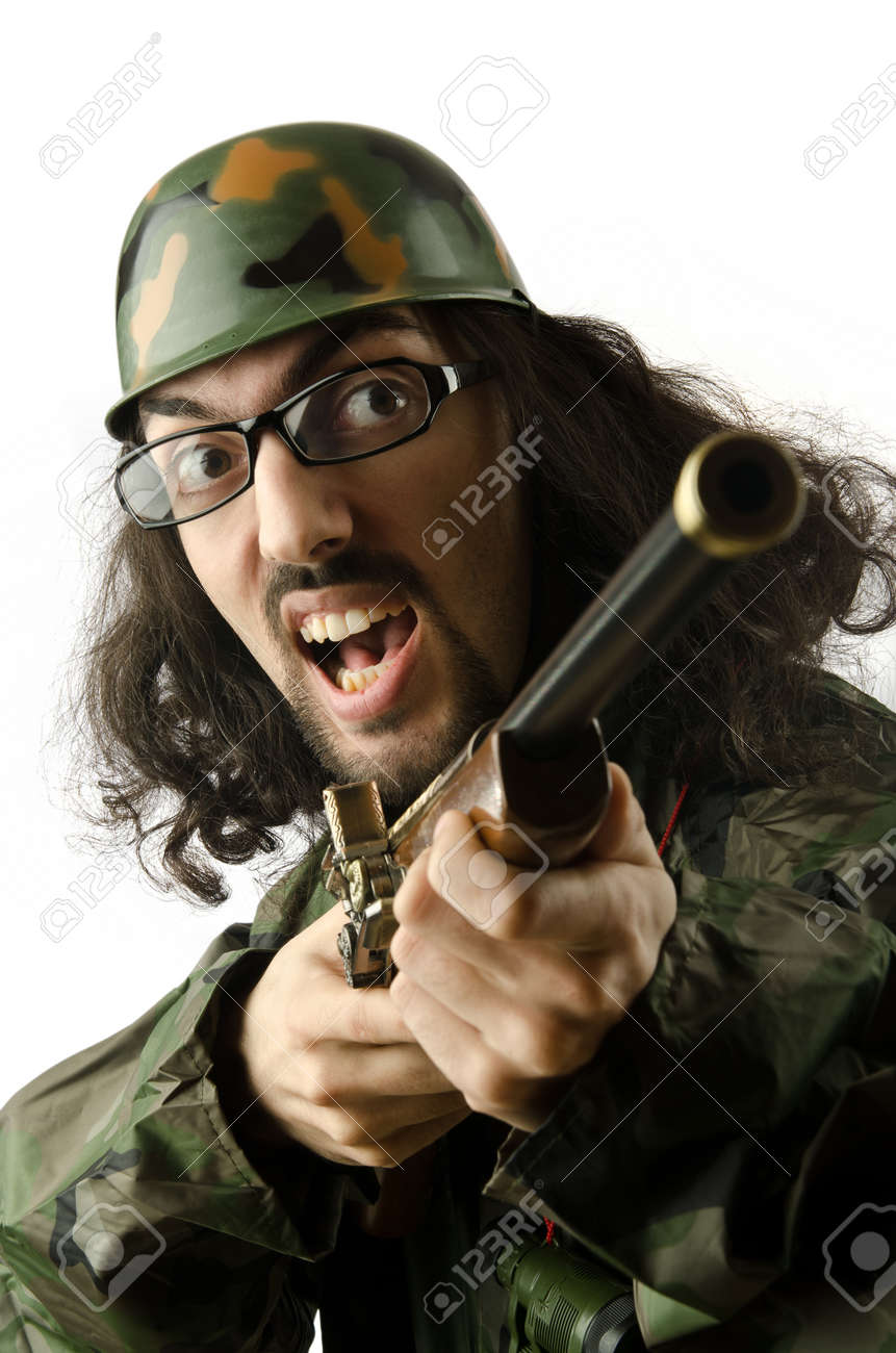 Funny soldier in humour concept Stock Photo - 14385358