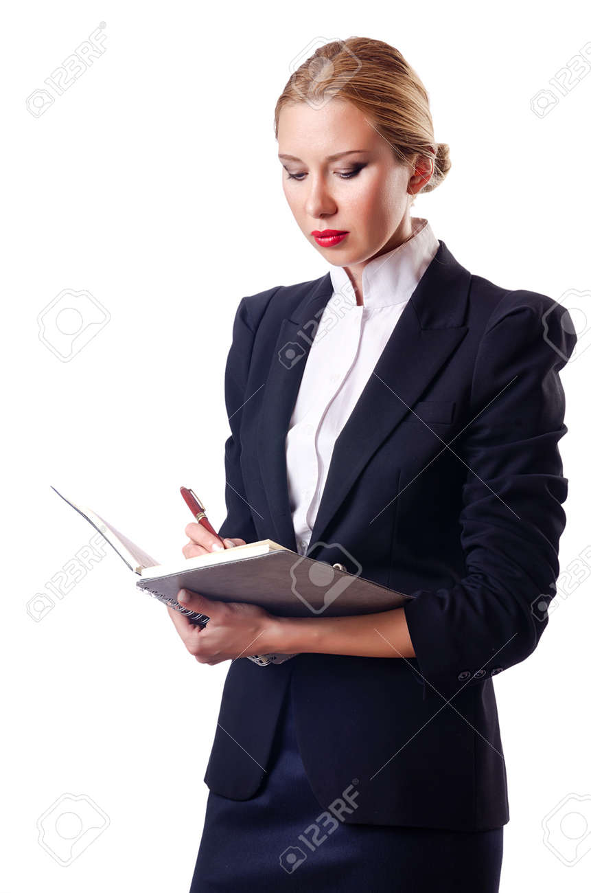 Woman businessman isolated on the white Stock Photo - 14703675