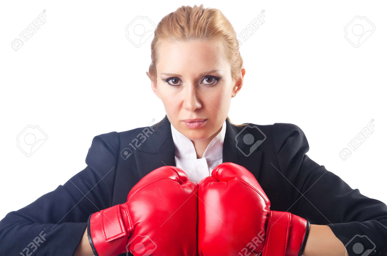 Woman boxer isolated on white Stock Photo - 14725773