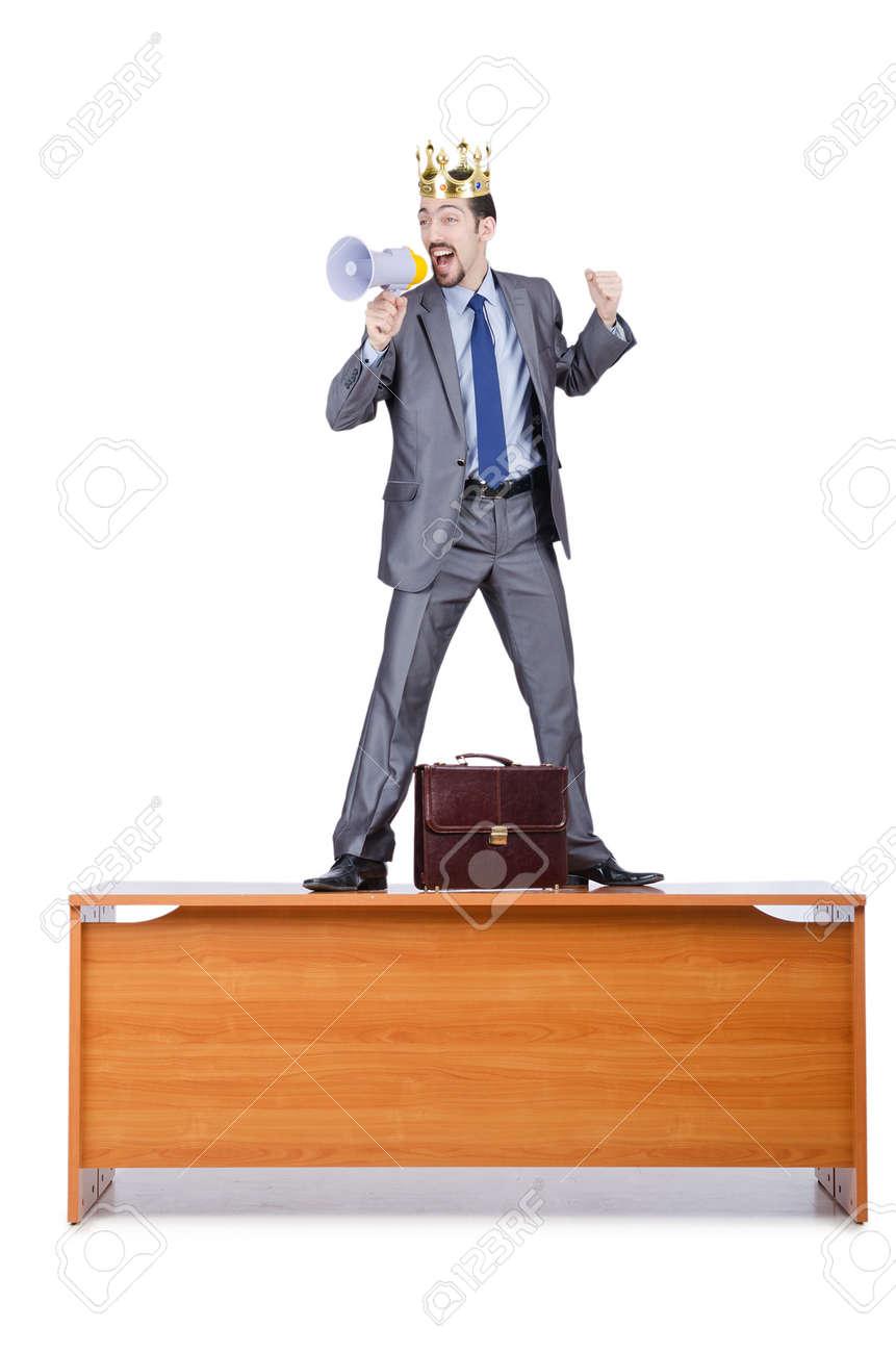 Man on the desk shouting loudspeaker Stock Photo - 14725800