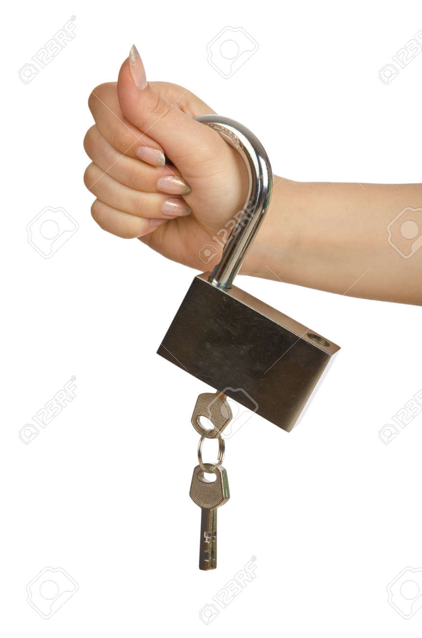 Hand with padlock isolated on white Stock Photo - 14772170