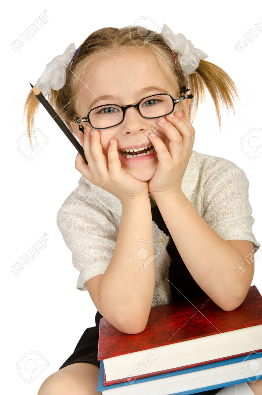 Little girl with books on white Stock Photo - 14814662